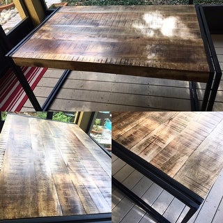Handmade Timbergirl Reclaimed Wood and Metal Dining Table (India)