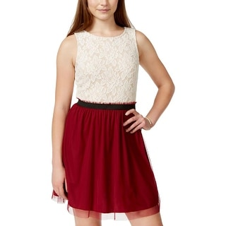 Speechless Womens Juniors Casual Dress Lace Banded Waist - 5
