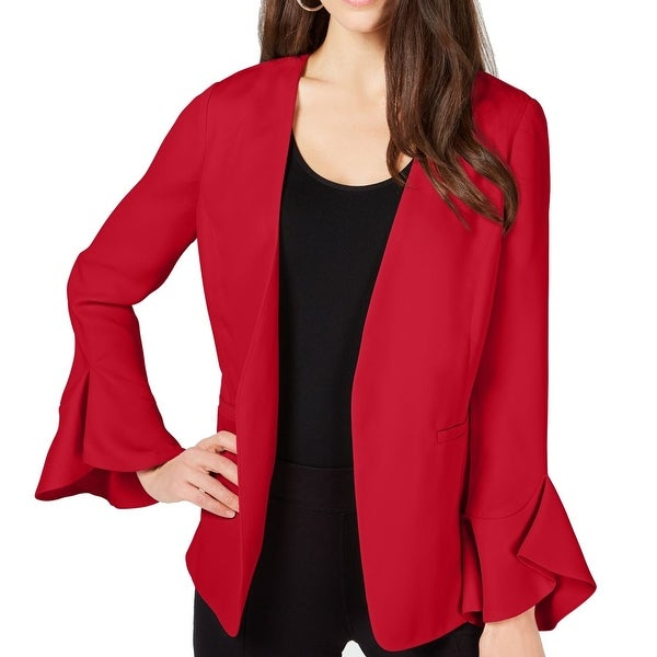 Alfani Women's Jacket Red Size Medium M Flutter Sleeve Open Front