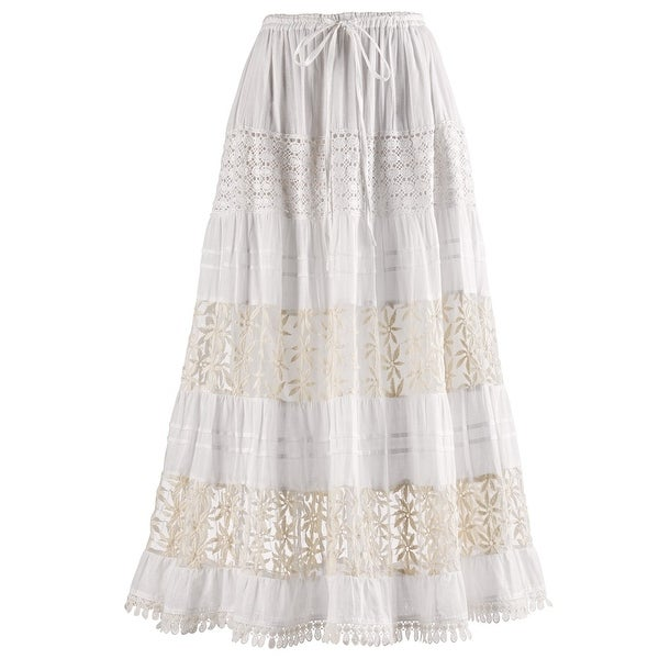 "Women's White Lacy Lined Maxi Skirt - 36"" Long - Elastic Drawstring Waist"