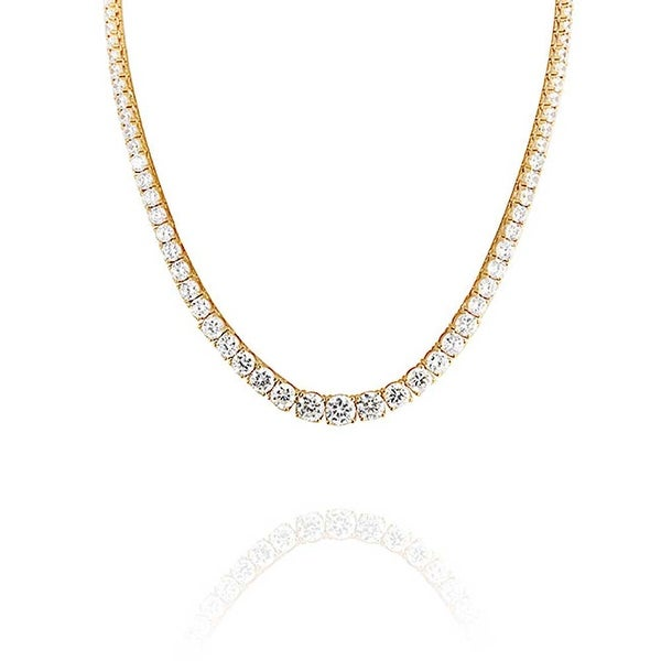 Shop Bridal Classic Graduate Round Solitaire Tennis Collar Necklace For  Women Cubic Zirconia CZ 14K Gold Plated Brass - On Sale - Free Shipping  Today ... 02cfb1e9f
