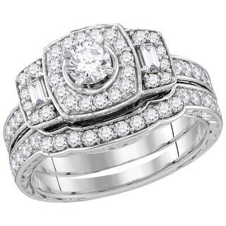 14k White Gold Womens Natural Round Diamond EGL Certified Bridal Wedding Engagement Ring Band Set 1 Cttw