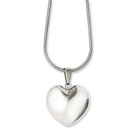 Chisel Stainless Steel Polished Puff Heart 20in Necklace (2 mm) - 20 in
