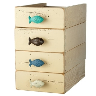 Fish Drawer Pulls Cabinet Knobs Set of 4 Painted and Distressed Cast Iron