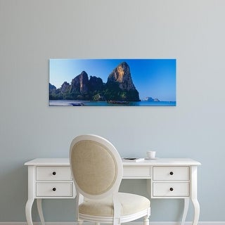 Easy Art Prints Panoramic Image 'Cliff on the beach, Railay Beach, Krabi, Krabi Province, Thailand' Premium Canvas Art