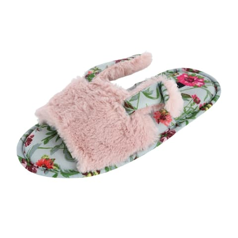 Kensie Women's Faux Fur Bunny Slide Slippers with Floral Insole