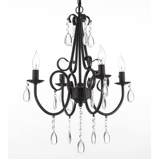 Wrought Iron & Crystal 4 Light Rustic Chandelier  Hardwire & Plug In