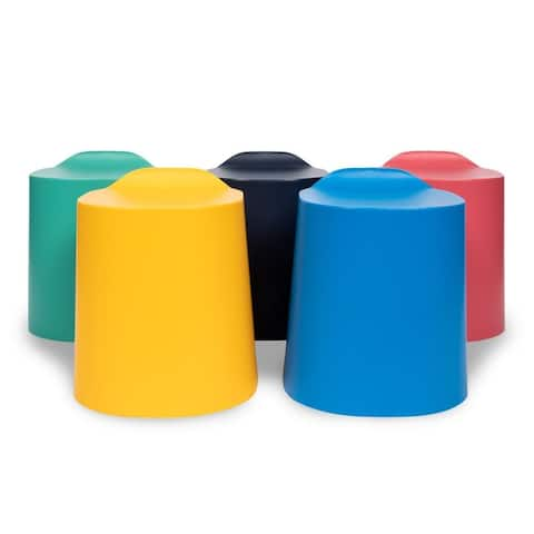 Offex Indoor Outdoor Assorted Kids Classroom Library TailFin Plastic Stackable Stools - 5 Pack