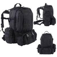 55L Outdoor Military Tactical Backpack Rucksack Camping Bag Hiking Black