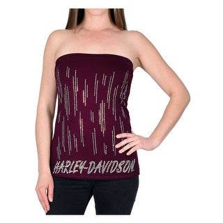 Harley-Davidson Women's Vexatious Script Embellished Tube Top, Wine Red