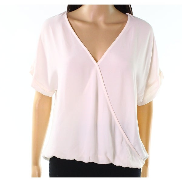 3644e013e29c Shop Lush Bridal Blush Pink Womens Size Small S Hi-Low Faux-Wrap Blouse -  Free Shipping On Orders Over $45 - Overstock - 27602011