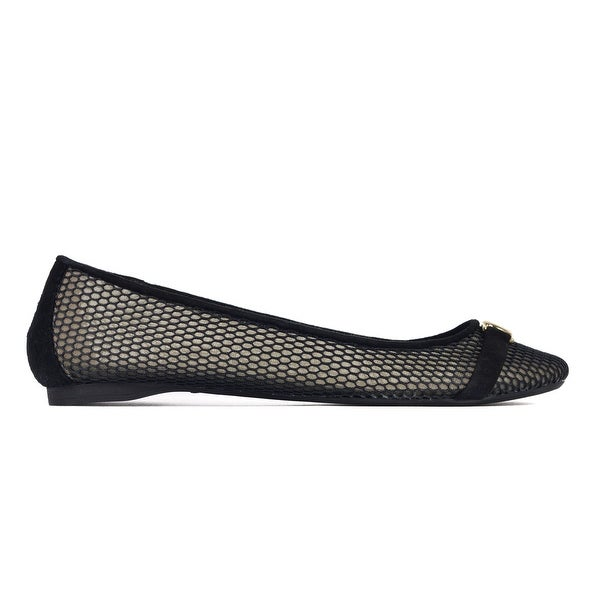 5cec989cb Shop Versace Collection Black Mesh Medusa Emblem Strap Flats IT38.5 ...