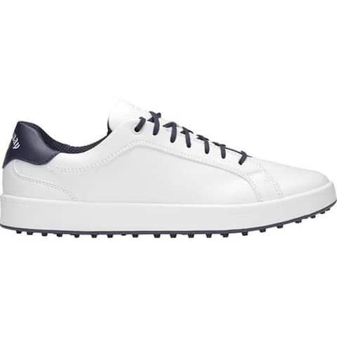 Callaway Men's Del Mar Waterproof Golf Shoe White/Navy Microfiber Leather