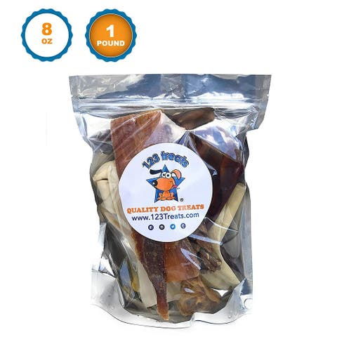 Premium Assorted Dog Chews 8 Ounces ,1 or 2 Pounds Delicious Natural Chews for Dogs - Mix Dog Snacks from123 Treats