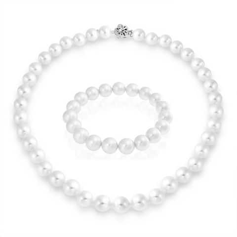 Simple Bridal Fashion White Imitation Pearl Strand Necklace Stretch Bracelet Jewelry Set For Women For Wedding 10MM