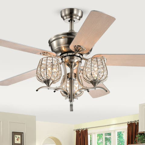 Silver Orchid Dietrich Satin Nickel 52-Inch 5-Blade Lighted Ceiling Fan