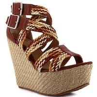 Ceresnia Adult Tan Braided Strap Platform Wedge Buckled Sandals
