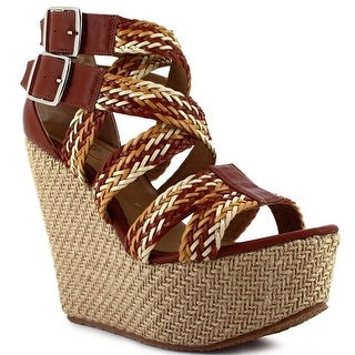 Ceresnia Adult Tan Braided Strap Platform Wedge Buckled Sandals
