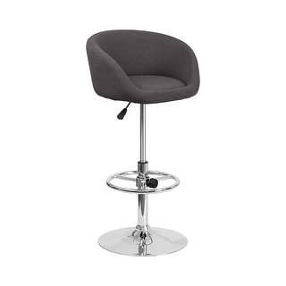 Offex Contemporary Black Fabric Low Back Design Adjustable Height Barstool with Chrome Base