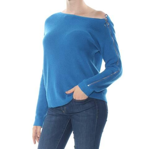 BAR III Womens Blue Zippered Sweater Size M
