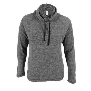 Ideology Women's Fleece Funnel-Neck Pullover Sweater - black space dye - l