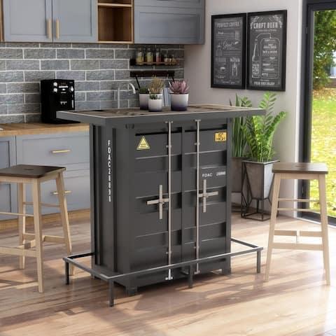 Furniture of America Maxter Industrial 2-shelf Bar Table