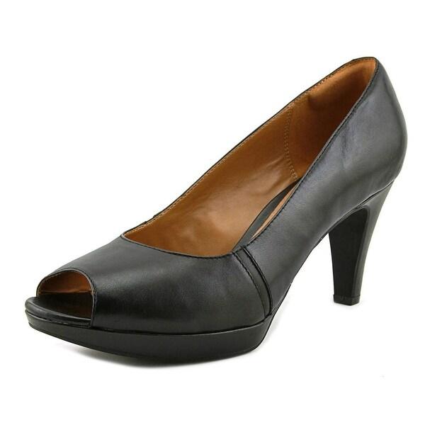 Clarks Narine Rowe Women W Peep-Toe Leather Black Heels