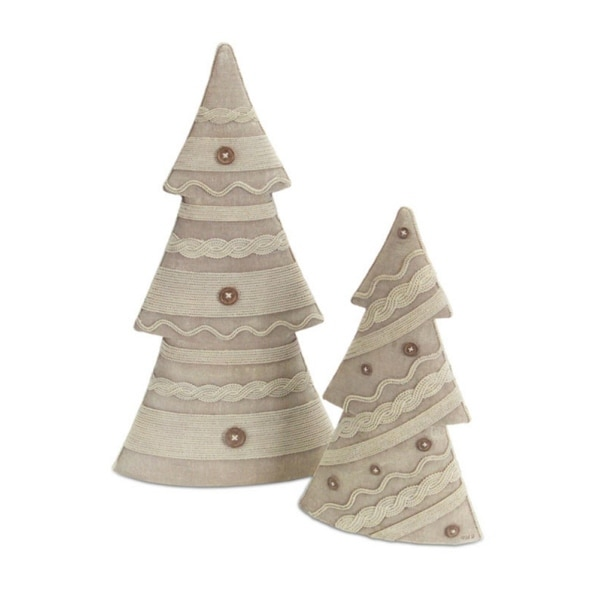 2 Neutral Colored Knit Sweater Inspired Christmas Tree Table Top Decorations