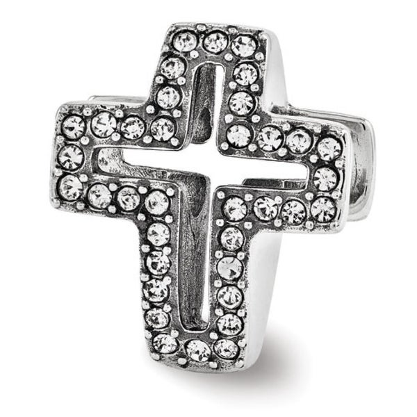 Sterling Silver Reflections Swarovski Pave Open Cross Bead (4mm Diameter Hole)