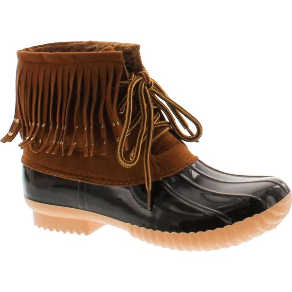 Duck-03 Women's Lovely Studded Fringe Lace Up Dress Duck Boots