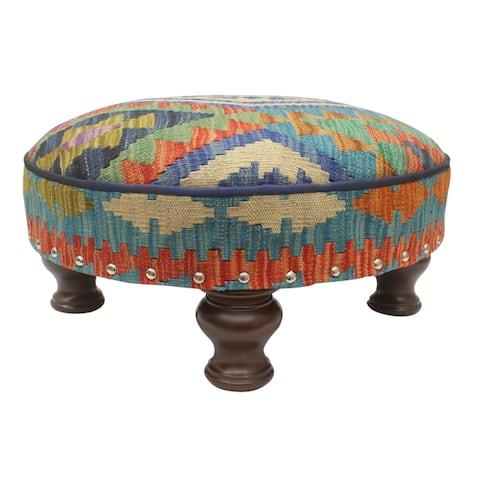 Tribal Dowling Kilim upholstered Handmade Cocktail Ottoman