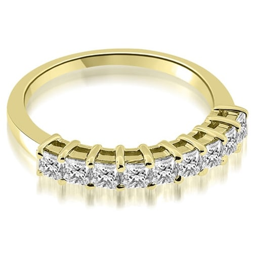 0.90 cttw. 14K Yellow Gold Prong Set Princess Cut Diamond Wedding Band