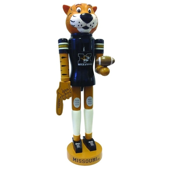 "14"" NCAA Missouri Tigers Football Mascot Decorative Wooden Christmas Nutcracker - black"