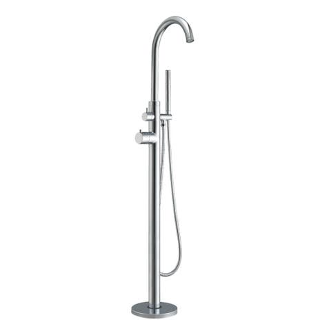 """Whitehaus WHT7369S Bathhaus 46""""H Floor Mounted Tub Filler with Hand - Polished Chrome"""