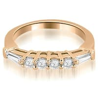 0.80 CT.TW Baguette and Round Diamond Wedding Band - White H-I