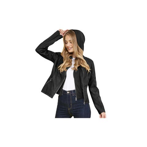 Made By Johnny Womens Faux Leather Motorcycle Jacket with Hoodie