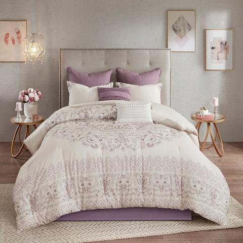 Madison Park Evelyn 8 Piece Cotton Printed Reversible Comforter Set