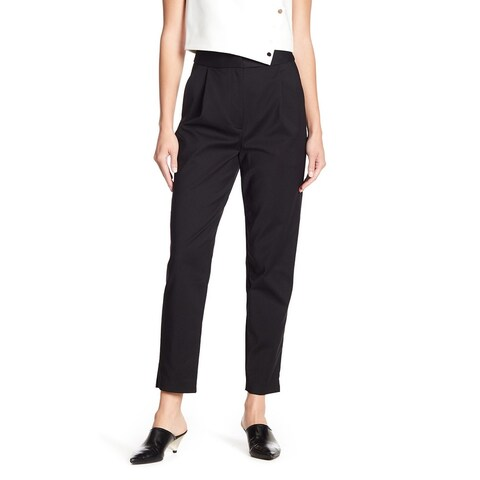 Tibi Black Women's Size 10X27 Pleated Slim Dress Pants Stretch