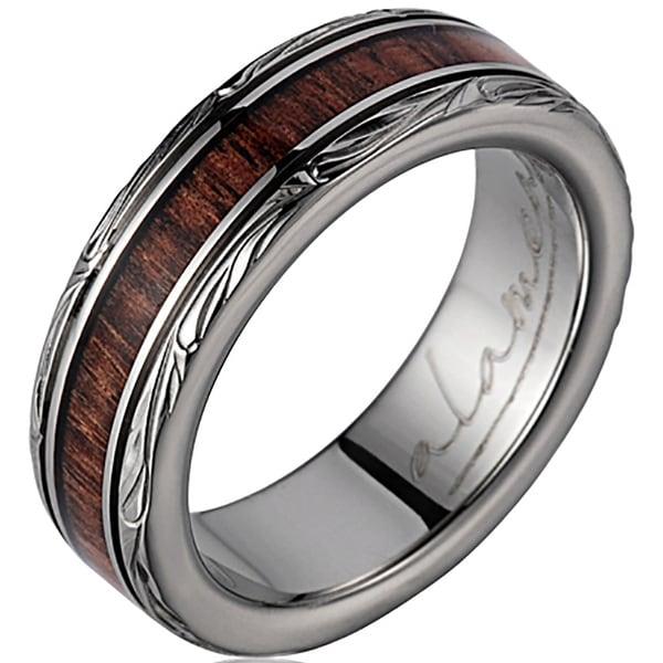 Titanium Wedding Band with Koa Wood Inlay & Leaf Designed Edges 6mm
