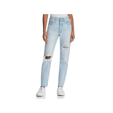 Levi's Womens 501 Skinny Jeans Destroyed Raw Hem