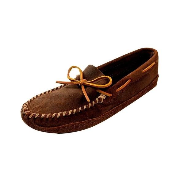 b2d842e42aad Shop Minnetonka Shoes Mens Double Bottom Warm Softsole Leather Brown ...