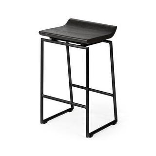 "Mercana Givens IV 24.25"" Seat Height Black Wood Seat Black Frame Stool - 14"" W x 15.75"" D x 25.75"" H"