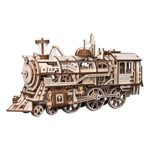 "DIY 3D Wooden Mechanical Gears Kit - Locomotive - 14.5x4.7x14.5"""