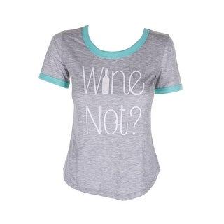 Jenni Plus Size Grey Turquoise Wine Not Graphic Pajama T-Shirt 1X