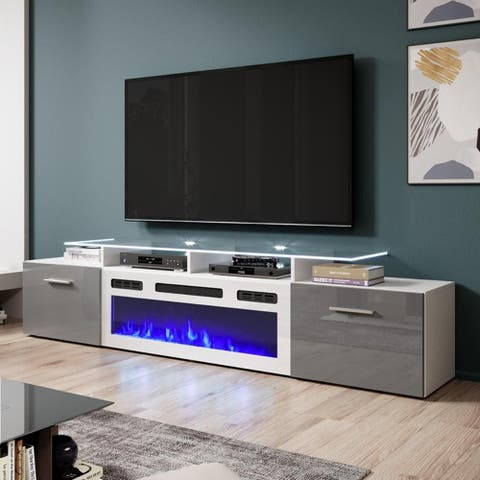 """Rova WH-EF Electric Fireplace Modern 75"""" TV Stand"""