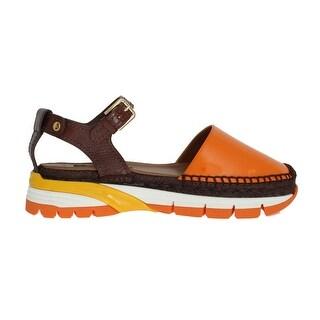 Dolce & Gabbana Brown Leather Espadrilles Sandals