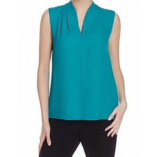 Elie Tahari NEW Green Womens Size Small S Split-Neck Pleated Blouse