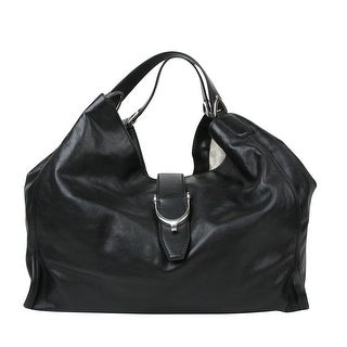 Gucci Stirrup Black Calf Leather Large Hobo Bag Handbag 296855 1000