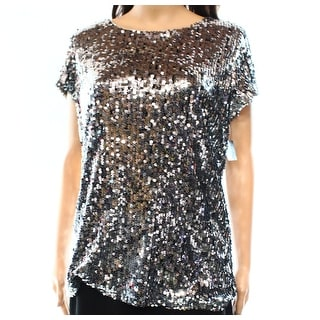 INC NEW Silver Women's Size Medium M Scoop-Neck Stretch Sequined Top