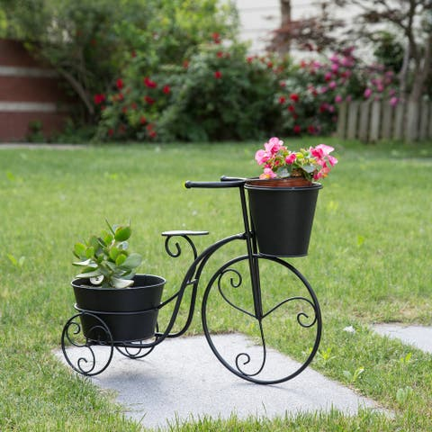 """Glitzhome 21.5""""L Farmhouse Hand painted Metal Bicycle Planter Stand"""